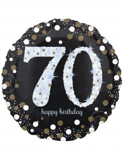 Aluminium-Luftballon 70 Jahre Partydeko Geburtstag schwarz-weiss-gold 71 cm