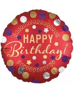 Happy Birthday-Aluminiumballon Partydeko rot 43 cm