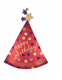 Happy Birthday Aluminiumballon Geburtstagshut bunt 68 x 91 cm