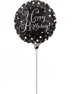 Happy Birthday-Luftballon Aluminium-Ballon schwarz-gold-weiss 23 cm