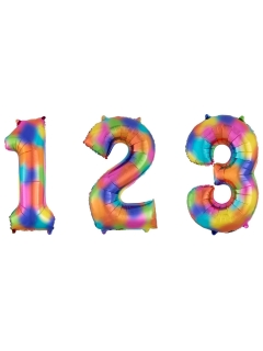 Auswählbarer Zahlenballon mit Regenbogen-Muster Ziffern-Ballon bunt 63x88cm