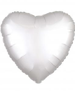 Aluminium-Luftballon Herz Partydeko weiss 43cm
