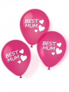 Muttertag-Luftballons Best Mum 6 Stück pink 27,5cm