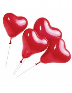 Herz-Luftballons mit Stab Dekoration 5 Stück rot 20cm