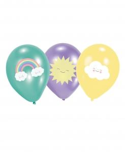 Luftballons Wolke, Regenbogen und Sonne 6 Stück bunt 27,5cm