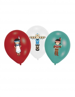 Indianer-Luftballons Partydeko 6 Stück bunt 27,5cm