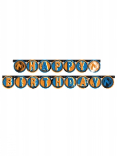 Nerf™-Girlande Happy Birthday Partydeko orange-blau 204cm