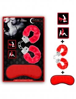 Liebesspiel-Set Handschellen, Augenbinde und Würfel rot