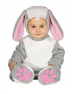 Niedliches Hasen-Kostüm für Babys Oster-Kostüm grau-rosa-weiss