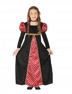 Hofdame-Mädchenkostüm Mittelalterkostüm rot-schwarz-gold