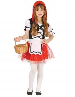 Rotkäppchen-Kostüm für Mädchen Märchenkostümrot-weiss