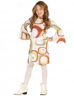 70er-Kostüm für Mädchen Disco-Kostüm weiss-bunt
