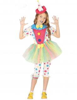Gepunktetes Clown-Kostüm für Mädchen weiss-bunt