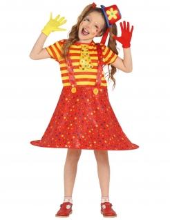 Clown-Kostüm für Mädchen Faschingskostüm rot-gelb