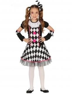 Harlekin-Mädchenkostüm Faschingskostüm schwarz-weiss-pink
