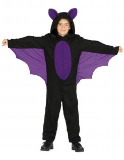 Fledermaus-Jungenkostüm Halloween-Kostüm schwarz-violett
