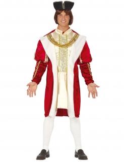 Mittelalterlicher König Herrenkostüm Faschingskostüm weiss-rot-gold