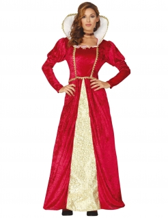 Mittelalterliche Königin-Kostüm für Damen rot-gold
