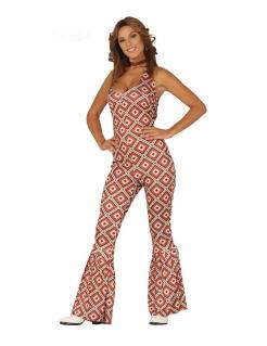 Disco-Jumpsuit für Damen Faschingskostüm bunt