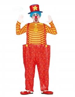 Clown-Kostüm für Herren Faschingskostüm rot-gelb