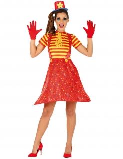Fröhliches Clown-Kostüm für Damen rot-gelb