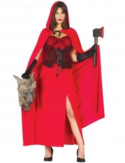 Rotkäppchen-Damenkostüm Wolfstöterin rot-schwarz