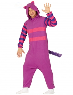Katzen-Kostüm gestreift Faschingskostüm pink-lila