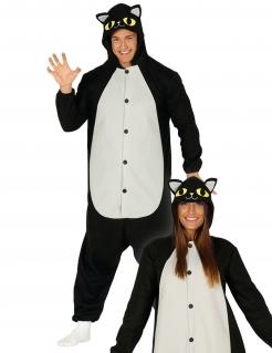 Katzen-Kostüm Tierkostüm schwarz-weiss