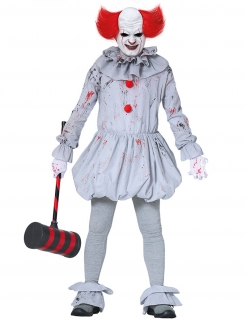Blutiges Killerclown-Kostüm für Halloween grau-rot