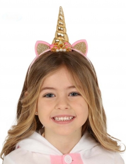 Einhorn-Haarreif mit Krönchen für Mädchen Karnevals-Zubehör rosa-gold