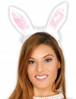 Hasenohren Kostümzubehör Ostern weiss-rosa