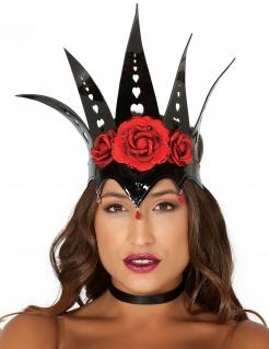 Böse Königin Krone mit Rosen schwarz-rot