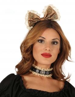 Steampunk-Schleife Haarreif für Damen bronze