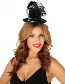 Mini-Hut mit Rose und Feder Kostümaccessoire für Damen schwarz
