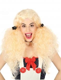 Zopfperücke gekräuseltes Haar blond