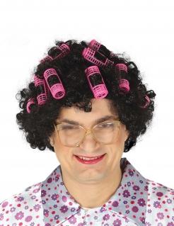 Lustige Hausfrauen-Perücke mit Lockenwicklern schwarz-pink