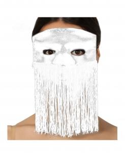 Fransen-Augenmaske für Erwachsene silber-weiss