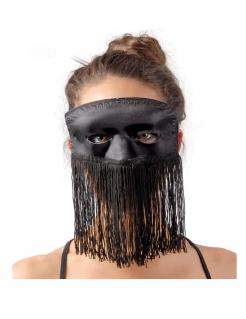 Augenmaske mit Fransen für Erwachsene schwarz