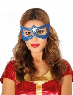 Superheldin-Augenmaske mit Glitzer blau-weiss