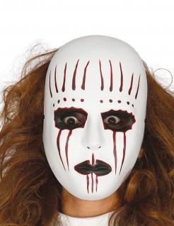 Horror-Pantomime Halbmaske Halloween-Maske weiss-rot-schwarz