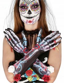 Skelett-Handschuhe für Damen Tag der Toten Halloween-Kostüm Zubehör bunt