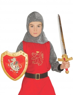 Ritter-Accessoire-Set für Kinder 2-teilig gold-rot-silber