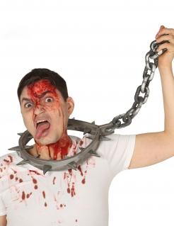 Gigantisches Folter-Halsband Horror-Accessoire Halloween-Zubehör 80 cm silber-grau