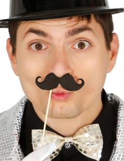 Schnurrbart-Fotozubehör mit Stiel 6 Stück schwarz 10 cm