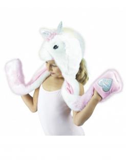 Einhornmütze für Kinder Kostümaccessoire weiss-pink-silber