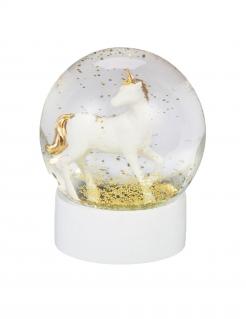 Schneekugel Einhorn Glaskugel weiss-gold