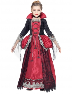Schickes Vampirgräfin-Kostüm für Mädchen Halloweenkostüm schwarz-rot-silber