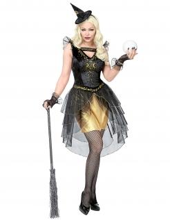 Mond-Hexe Damenkostüm Halloween-Kostüm schwarz-gold