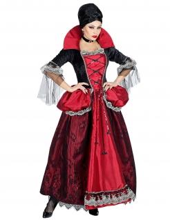 Wunderschönes Vampir-Gräfin-Kostüm für Damen Halloween-Kostüm rot-schwarz