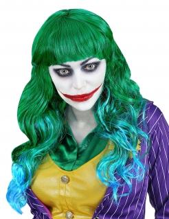 Damenperücke Verrückter Clown Superschurken-Perücke grün-blau